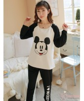 Mamma Pajamas - Long Love Mickey White