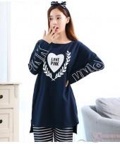 Mamma Pajamas - Long Pink Dark Blue
