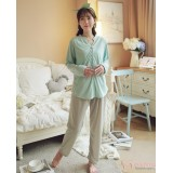 Mamma Pajamas - Long Button Green Blue