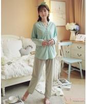 Mamma Pajamas - Long Button Green Blue