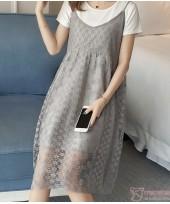 Nursing Dress - Zip Lace Grey