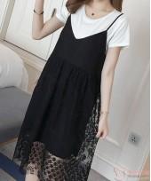 Nursing Dress - Zip Lace Black