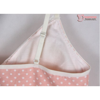 Maternity Tops - JP Singlet Padded Polka Pink