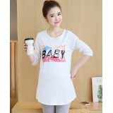 Maternity Tops - Long Baby White