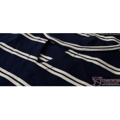 Maternity Tops - Long Stripe Dark Blue