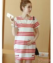 Nursing Dress - Stripe White Red