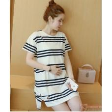 Nursing Dress - Stripe White Black