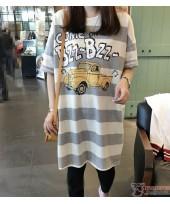 Nursing Dress - Buzz Grey Stripe