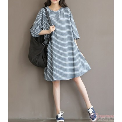 Maternity Dress - Laila Stripe Grey
