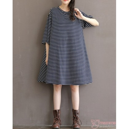 Maternity Dress - Laila Stripe Black