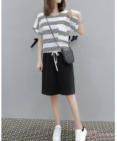 Nursing Dress - 2pcs Chiffon Stripe Black