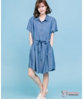 Nursing Dress - Denim Ribbon Blue Dark