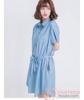 Nursing Dress - Denim Ribbon Blue Light