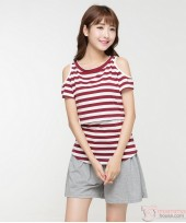 Nursing Tops - Strapless Stripe Maroon Red