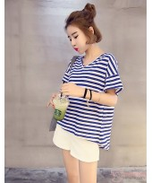 Nursing Tops - V Stripe Shine Blue