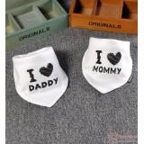 Baby Bib - 2pcs set - Love Daddy Mommy White