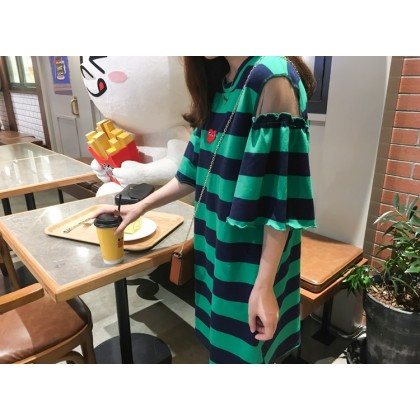 Maternity Dress - Stripe Green