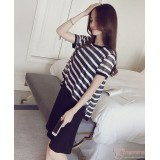 Nursing Dress - 2pcs Stripe Black