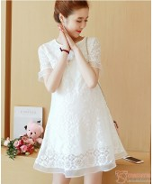 Maternity Dress -  Grace Lace White