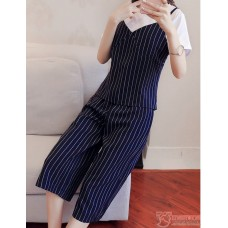 Nursing Set - 3pcs Vert Stripe Dark Blue