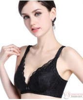 X Nursing Bra - Lace Button Black