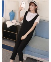 Maternity Set - Strap Black White T-shirt (2pcs set)