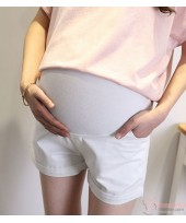 Maternity Shorts - White Shorts Fold