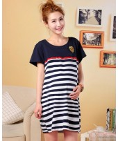 Maternity Dress - Badge Dark Blue