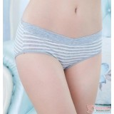 Maternity Panties - Low Waist Cotton Stripe Grey
