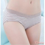 Maternity Panties - Low Waist Cotton Stripe Khaki