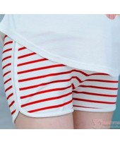 Maternity Shorts - Cotton Stripe Red