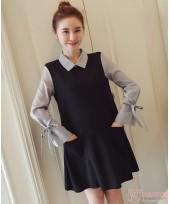 Maternity Dress - Forge Stripe Collar Black