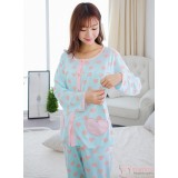 Mamma Pajamas - Long Heart Pink Blue