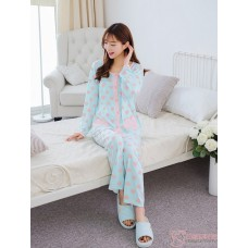Mamma Pajamas - Long Heart Pink Blue