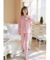 Mamma Pajamas - Long Collar Stripe Pink
