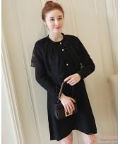 Maternity Dress - Elegant Lace Black