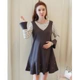 Maternity Dress - Forge 2pcs Pearl Dark Grey