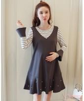 Maternity Dress - 2pcs Pearl Dark Grey
