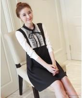 Maternity Dress - Long Ribbon Chiffon Black