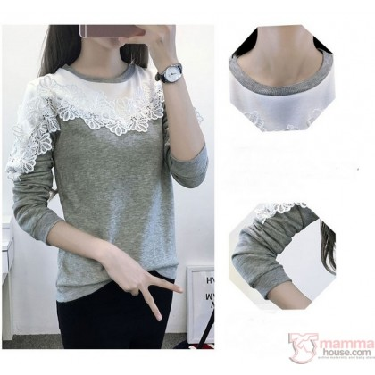 Nursing Tops - Long Chest Lace Grey