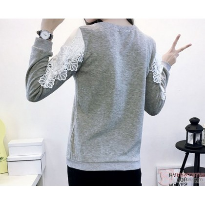 Nursing Tops - Long Chest Lace Grey