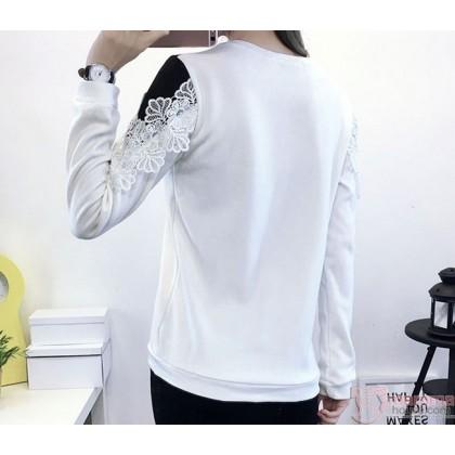 Nursing Tops - Long Chest Lace White