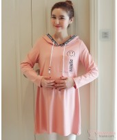 Maternity Dress - Long Smile Pink