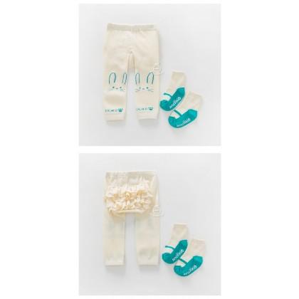 Baby Hose - Korean Hips Flora (2pcs Set) White