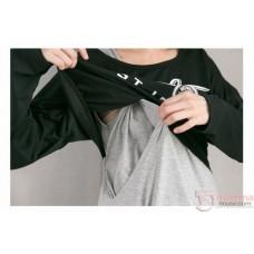 Nursing Dress - 2pcs Ucla Grey Long
