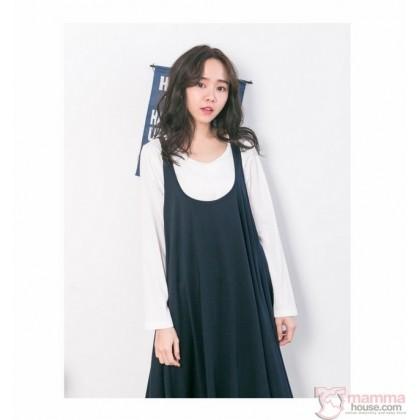 Nursing Dress - 2pcs Wave Dark Blue LONG