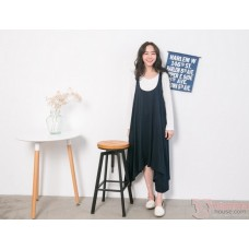 Nursing Dress - 2pcs Wave Dark Blue LONG