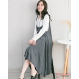 Nursing Dress - 2pcs Wave Grey LONG