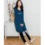 Nursing Dress - Long Stripe Blue