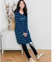 Nursing Dress - Long Stripe Blue
